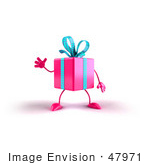 #47971 Royalty-Free (Rf) Illustration Of A 3d Pink Present Mascot Waving