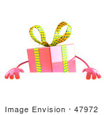 #47972 Royalty-Free (Rf) Illustration Of A 3d Pink Present Mascot Standing Behind A Blank Sign - Version 1