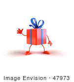 #47973 Royalty-Free (Rf) Illustration Of A 3d Orange Present Mascot Waving