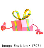 #47974 Royalty-Free (Rf) Illustration Of A 3d Pink Present Mascot Standing Behind A Blank Sign - Version 2