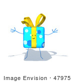 #47975 Royalty-Free (Rf) Illustration Of A Blue 3d Gift Mascot With Open Arms - Version 3