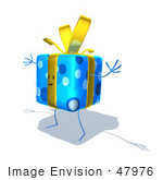 #47976 Royalty-Free (Rf) Illustration Of A Blue 3d Gift Mascot With Open Arms - Version 4