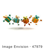 #47979 Royalty-Free (Rf) Illustration Of A Line Of Four 3d Present Mascots Jumping - Version 1