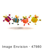 #47980 Royalty-Free (Rf) Illustration Of A Line Of Four 3d Present Mascots Jumping - Version 3