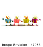 #47983 Royalty-Free (Rf) Illustration Of A Line Of Four 3d Present Mascots Facing Front And Holding Hands - Version 3