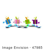 #47985 Royalty-Free (Rf) Illustration Of A Group Of Four 3d Present Mascots Snowboarding - Version 4