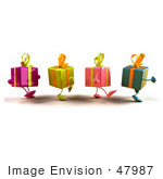 #47987 Royalty-Free (Rf) Illustration Of A Group Of Four 3d Present Mascots Walking Right - Version 4