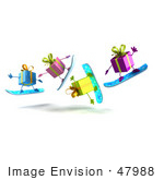 #47988 Royalty-Free (Rf) Illustration Of A Group Of Four 3d Present Mascots Snowboarding - Version 6