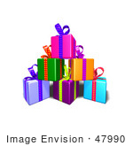 #47990 Royalty-Free (Rf) Illustration Of A Pile Of Colorful Gifts With Ribbons And Bows - Version 6
