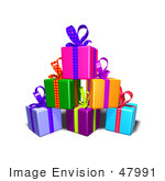 #47991 Royalty-Free (Rf) Illustration Of A Pile Of Colorful Gifts With Ribbons And Bows - Version 5