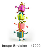 #47992 Royalty-Free (Rf) Illustration Of A Group Of Four 3d Present Mascots Standing On Top Of Each Other - Version 1