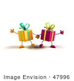 #47996 Royalty-Free (Rf) Illustration Of Two 3d Present Mascots Holding Hands - Version 1