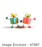 #47997 Royalty-Free (Rf) Illustration Of Two 3d Present Mascots Holding Hands - Version 3