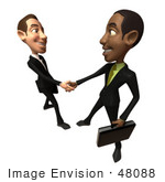 #48088 Royalty-Free (Rf) Illustration Of 3d White And Black Businessmen Shaking Hands - Version 3