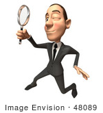 #48089 Royalty-Free (Rf) Illustration Of A 3d White Collar Businessman Mascot Using A Magnifying Glass - Version 4