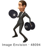 #48094 Royalty-Free (Rf) Illustration Of A 3d White Collar Businessman Mascot Lifting Weights - Version 2