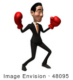 #48095 Royalty-Free (Rf) Illustration Of A 3d White Collar Businessman Mascot Boxing - Version 4