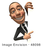 #48098 Royalty-Free (Rf) Illustration Of A 3d White Collar Businessman Mascot Looking Around A Blank Sign - Version 3
