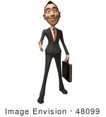#48099 Royalty-Free (Rf) Illustration Of A 3d White Collar Businessman Mascot Holding His Hand Out To Shake - Version 1