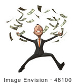 #48100 Royalty-Free (Rf) Illustration Of A 3d White Collar Businessman Mascot Throwing Money - Version 2