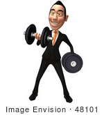 #48101 Royalty-Free (Rf) Illustration Of A 3d White Collar Businessman Mascot Weight Lifting Dumbbells - Version 1