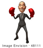 #48111 Royalty-Free (Rf) Illustration Of A 3d White Collar Businessman Mascot Boxing - Version 5
