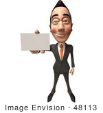 #48113 Royalty-Free (Rf) Illustration Of A 3d White Collar Businessman Mascot Holding Out A Business Card - Version 3