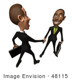 #48115 Royalty-Free (Rf) Illustration Of 3d White And Black Businessmen Shaking Hands - Version 4