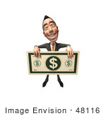 #48116 Royalty-Free (Rf) Illustration Of A 3d White Collar Businessman Mascot Holding A Large Banknote - Version 4