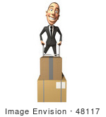 #48117 Royalty-Free (Rf) Illustration Of A 3d White Collar Businessman Mascot Moving Boxes On A Dolly - Version 4