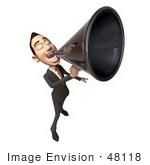#48118 Royalty-Free (Rf) Illustration Of A 3d White Collar Businessman Mascot Using A Megaphone - Version 5