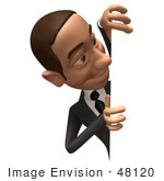 #48120 Royalty-Free (Rf) Illustration Of A 3d White Collar Businessman Mascot Looking Around A Blank Sign - Version 2