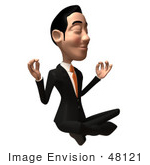 #48121 Royalty-Free (Rf) Illustration Of A 3d White Collar Businessman Mascot Meditating - Version 1