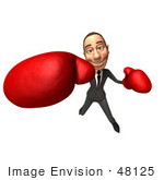 #48125 Royalty-Free (Rf) Illustration Of A 3d White Collar Businessman Mascot Boxing - Version 1