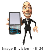 #48126 Royalty-Free (Rf) Illustration Of A 3d White Collar Businessman Mascot Holding A Cell Phone - Version 4