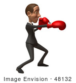 #48132 Royalty-Free (Rf) Illustration Of A 3d White Collar Businessman Mascot Boxing - Version 6