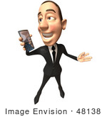 #48138 Royalty-Free (Rf) Illustration Of A 3d White Collar Businessman Mascot Holding A Cell Phone - Version 3