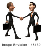 #48139 Royalty-Free (Rf) Illustration Of A 3d White Collar Businessman Mascot Shaking Hands With A Colleague - Version 1