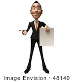 #48140 Royalty-Free (Rf) Illustration Of A 3d White Collar Businessman Mascot Holding A Blank Contract - Version 1