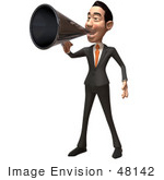 #48142 Royalty-Free (Rf) Illustration Of A 3d White Collar Businessman Mascot Using A Megaphone - Version 1