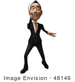 #48146 Royalty-Free (Rf) Illustration Of A 3d White Collar Businessman Mascot Using A Magnifying Glass - Version 1
