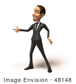 #48148 Royalty-Free (Rf) Illustration Of A 3d White Collar Businessman Mascot Pointing His Fingers Like A Gun - Version 1