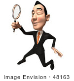 #48163 Royalty-Free (Rf) Illustration Of A 3d White Collar Businessman Mascot Using A Magnifying Glass - Version 4