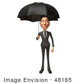 #48165 Royalty-Free (Rf) Illustration Of A 3d White Collar Businessman Mascot Standing Under An Umbrella - Version 1