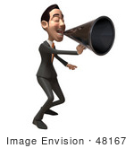 #48167 Royalty-Free (Rf) Illustration Of A 3d White Collar Businessman Mascot Using A Megaphone - Version 2