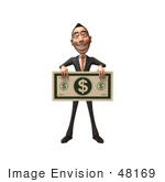#48169 Royalty-Free (Rf) Illustration Of A 3d White Collar Businessman Mascot Holding A Large Banknote - Version 1