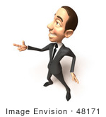 #48171 Royalty-Free (Rf) Illustration Of A 3d White Collar Businessman Mascot Pointing His Fingers Like A Gun - Version 2