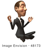#48173 Royalty-Free (Rf) Illustration Of A 3d White Collar Businessman Mascot Meditating - Version 3