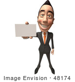 #48174 Royalty-Free (Rf) Illustration Of A 3d White Collar Businessman Mascot Holding Out A Business Card - Version 2