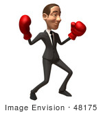 #48175 Royalty-Free (Rf) Illustration Of A 3d White Collar Businessman Mascot Boxing - Version 3